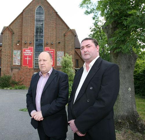 Labour leader Councillor Tony Newman (left) and David Christison (right) pictured campaigning outside St George's Church in Waddon, 2010