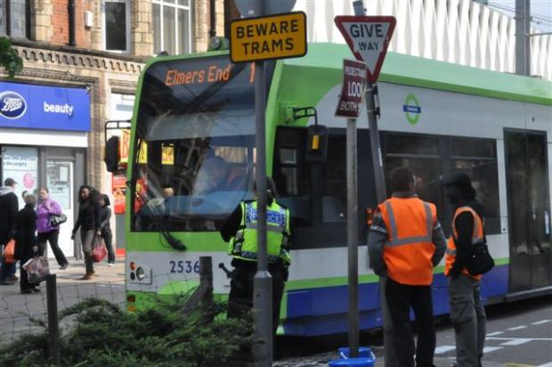 Trams have been suspended in Croydon town centre (file picture)