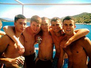 Croydon Guardian: Joseph Bruckland (second from right) is one of six men accused of a brutal attack on semi-professional footballer Robbie Hughes while on holiday in Malia in June 2008.