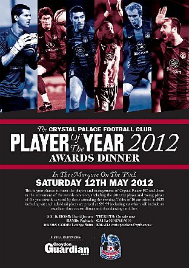Awards night: Crystal Palace player of the year awards are on May 12
