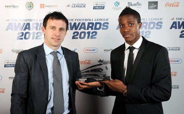 Happy Couple: Young player of the year Wilfried Zaha, right, with manager Dougie Freedman