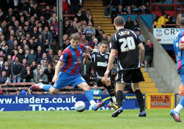 Making a point: Chris Martin scores for Palace in Saturday's 1-1 draw with Ipswich Town...
