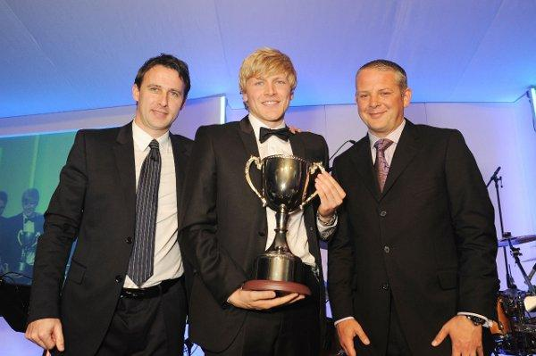 Player of the year: Jonathan Parr, centre, with his trophy and Dougie Freedman, left, and Gareth Limpenny, of sponsors Jelly Communications, right