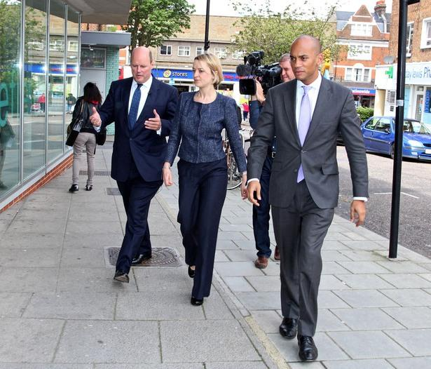Chuka Umunna takes RBS boss Stephen Hester on a tour of Streatham.