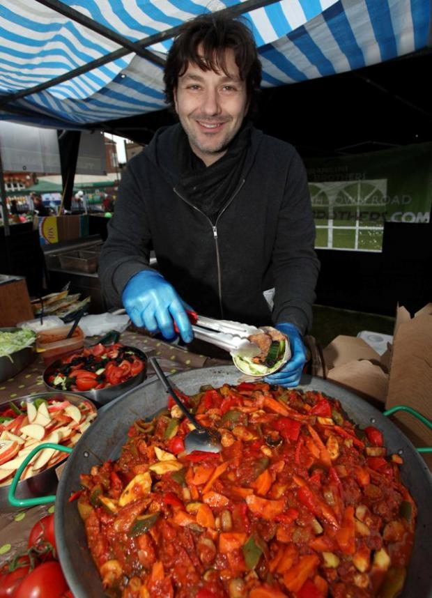 David Arkin serving a warm wrap at the West Norwood Feast.