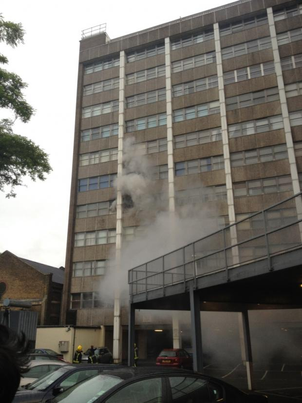 Smoke billows from Fitzroy Court - photo David Groves