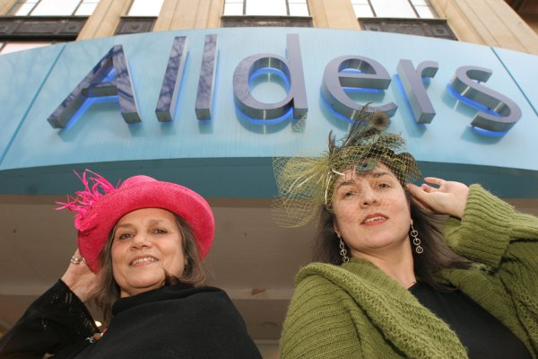Margaret Chatelier and Monique Rebeiro at the opening of Hatz in Allders in 2006
