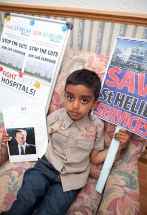 SUTT/HOSP: 5-year-old boy asks David Cameron not to close St Helier's vital services