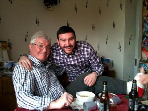 George Wilson with his son Nik on Christmas Day, shortly before his surgery