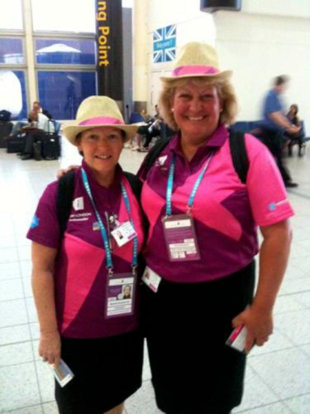 Fiona Woodcock (r) with colleague at Gatwick Airport