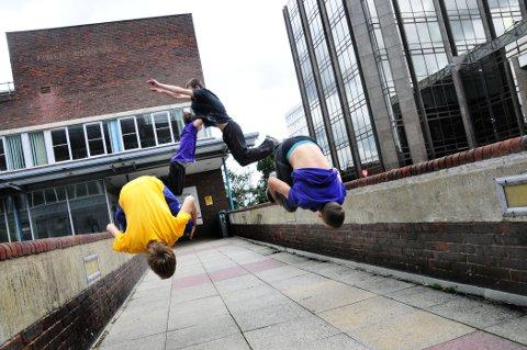 Parkour youngsters flip out at council offices