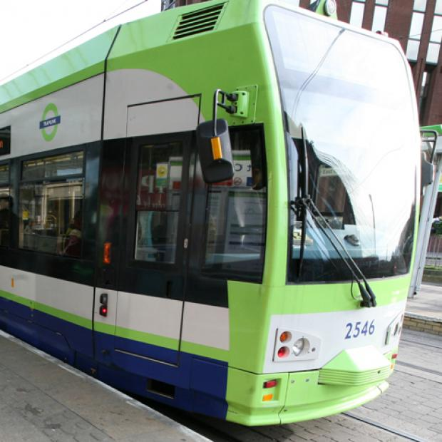 The man was injured after being struck by a tram