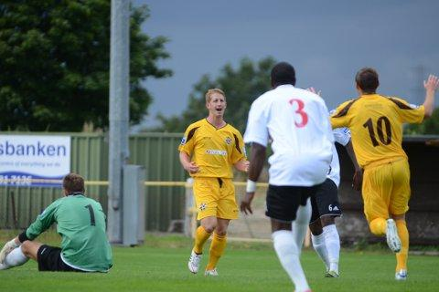 It's there: Sam Rents celebrates scoring for Sutton against Maidenhead last Saturday 	SP68717
