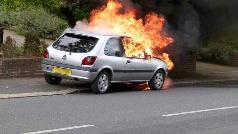 Ford Fiesta turns into fire ball in Woodcote Valley Road