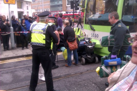 Woman treated after tram collides with mobility scooter in Croydon town centre