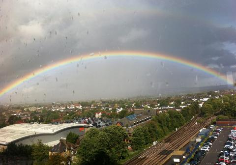 Croydon captured by a rainbow