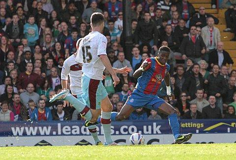 Opener: Wilfried Zaha hits the opening goal in Saturday's 4-3 win over Burnley