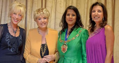 Mary Coughlan of Lucindas, Gloria Hunniford, Sakina Bradbury chair of Tandridge District and Council and Novello Noades