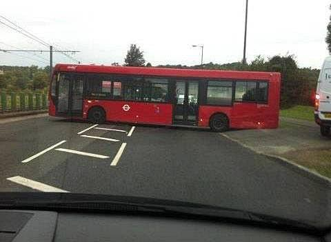 The bus got stuck after trying to do a three point turn