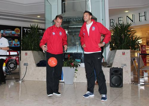 Crystal Palace players Aaron Wilbraham and Aaron Martin kicked off the competition