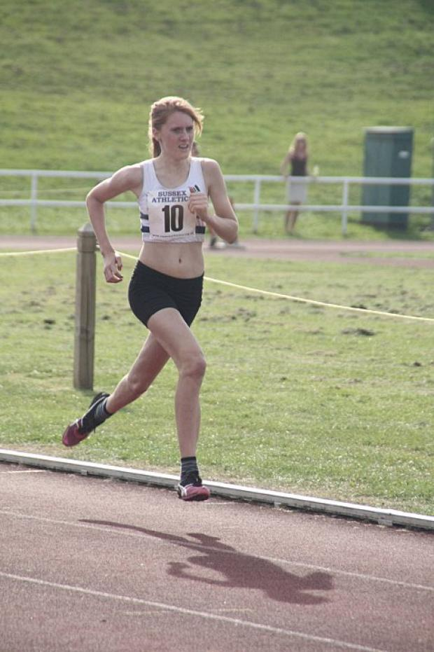 In the lead: Croydon Harrier Stevie Lawrence won the senior girls' cross-country title at the Croydon Schools championships