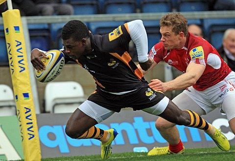 Speed demon: London Wasps winger Christian Wade scores in the corner during his side's 29-19 win over London Welsh at Adams Park on Sunday