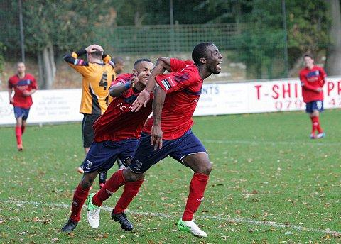 On target: Hampton Malvin Kamara celebrates scoring the only goal in Saturday's 1-0 FA Trophy win over Three Bridges, but the cheers turned to tears on Monday