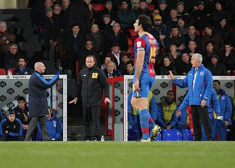 "Return of the jiggle: Holloway and McCarthy have a debate at Selhurst Park, as the Palace manager rediscovers his ""jiggle"""