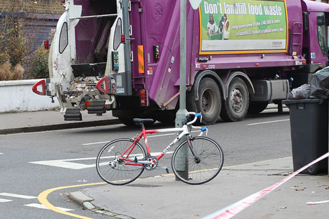 Cyclist hit by dustbin lorry this morning