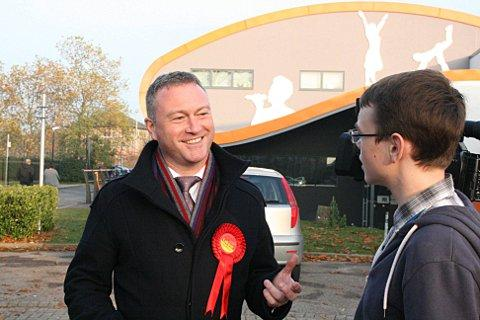 BRIT School pupil Jack Slater, 17, talks to Labour by-election candidate Steve Reed