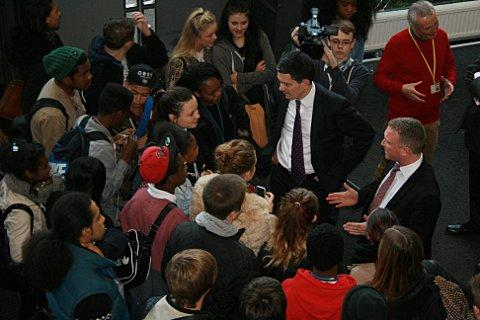 Steve Reed and David Miliband talk to pupils at the BRIT School