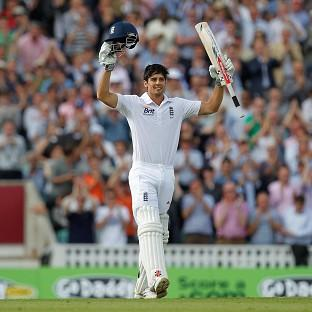 Alastair Cook was unbeaten on 109 at the lunch interval