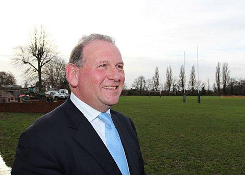 On familiar territory: 2015 Rugby World Cup chairman Andrew Cosslett takes a trip down memory lane at former club Weybridge Vandals last week