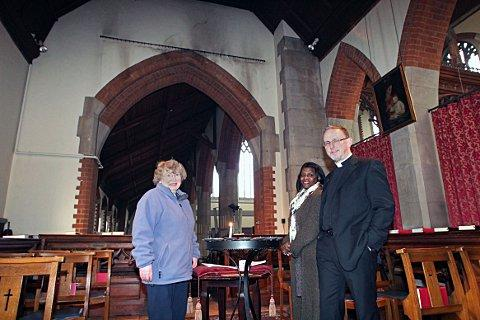 Church warden Pamela Pearce, former church warden Coral Martin and Revd Geoffrey Thompson