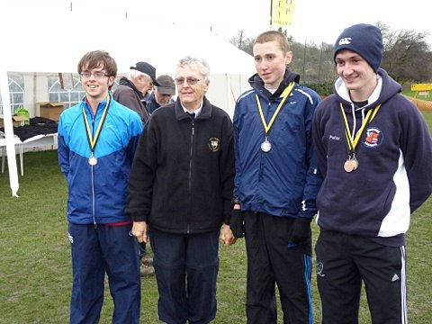 Winners: The U20 team, from left to right, of Ben Savill, Surrey President Patricia Cole, Mark Plackett and Peter Chambers