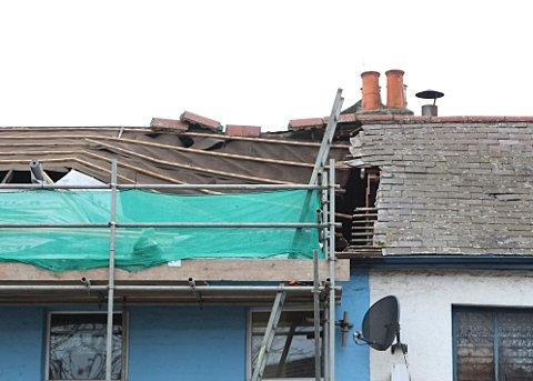 The chimney in Whitehorse Road, Croydon collapsed on Friday afternoon