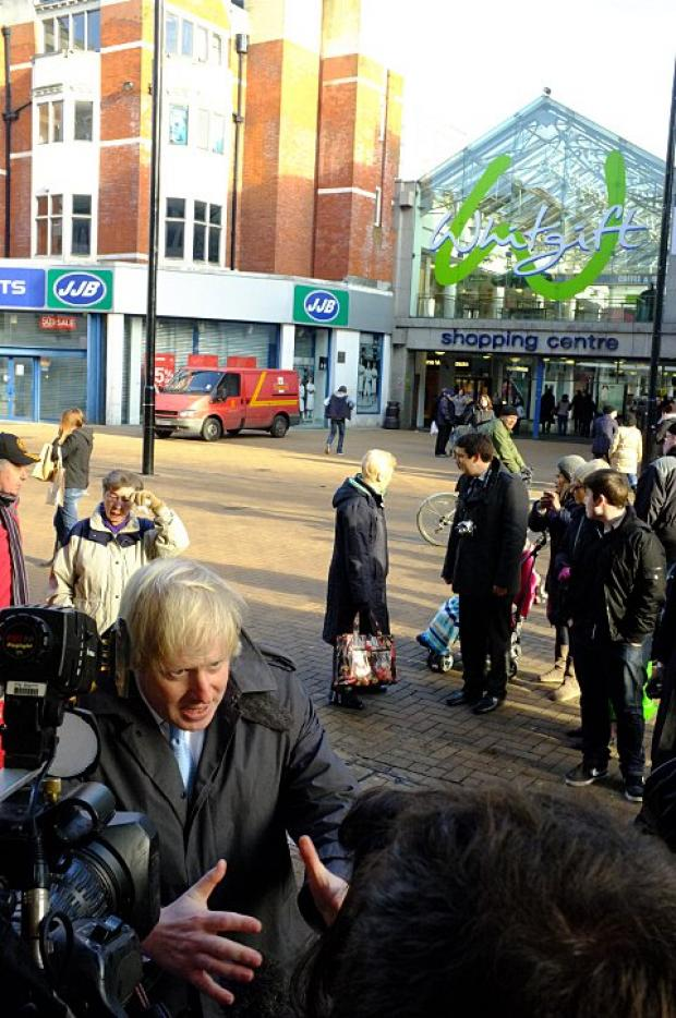 Boris Johnson outside the Whifgift Centre today