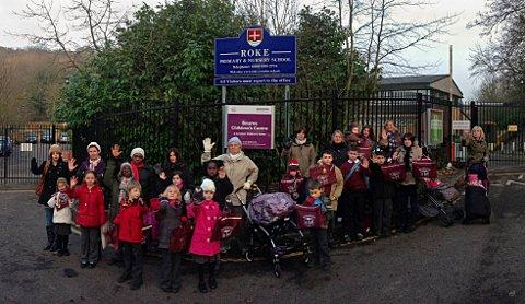 Parents and pupils protest outside Roke Primary School