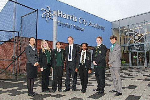 Harris Academy City Crystal Palace principal Andrew Barr with students Rebecca Bruneel, Megan Potter, Dhiren Wadher, Bernadine Shaw, Owen Hooper and Joseph Stanton