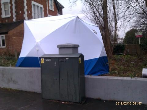 Neighbours in Addiscombe woke to a police tent on Sunday