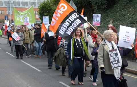 Protesters march to campaign against cuts to NHS South West London