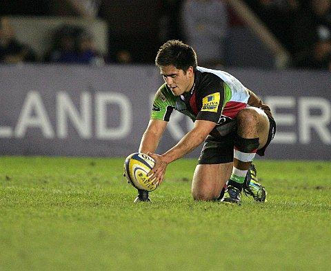 Man in control: Ben Botica's 100 per cent kicking record was the difference between Quins and Leicester Tigers     SP73019