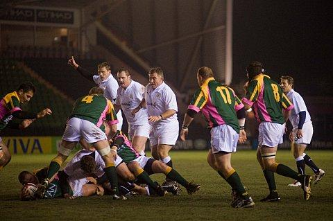 Rolling back the years: Jason Leonard, centre, in action for England Legends against South Africa Legends at the Stoop in 2010