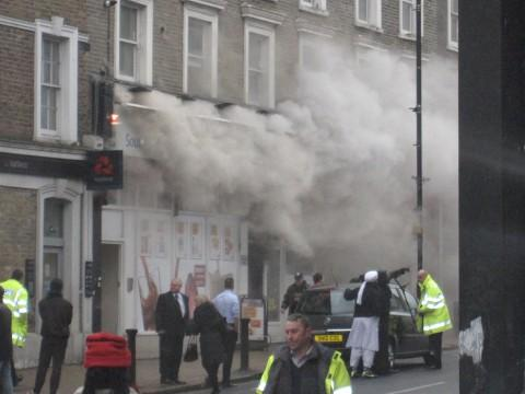 Firefighters are tackling a blaze at the Nisa supermarket in South Norwood