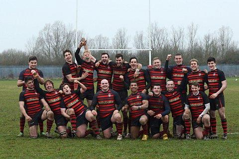 Promoted Kings: Twickenham celebrate the win that clinched promotion      SP73062