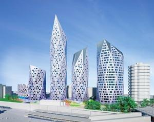 Future vision: An artist's impression of the diamond-shaped towers