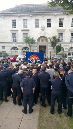 FBU president Alan McLean speaks to striking firefighters at protest in Kingston in November 2013