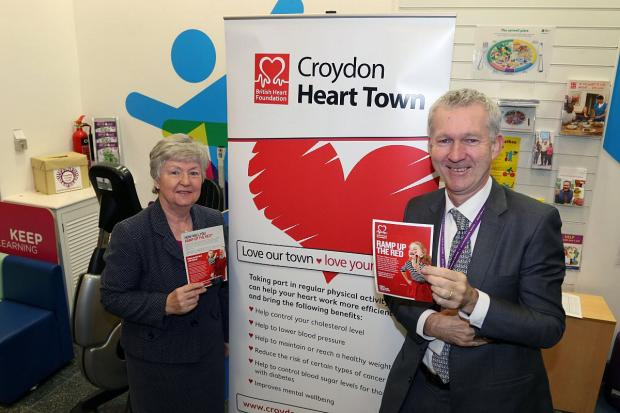 Cllr Margaret Mead with the Heart Town banner