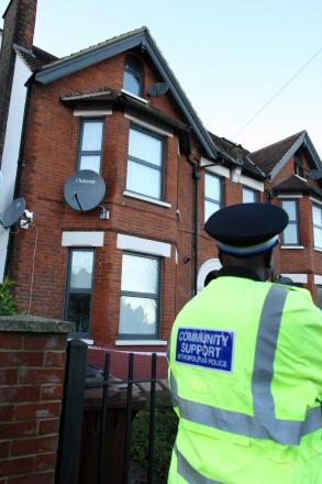 The woman fell from the second floor of a block of flats in Morland Avenue