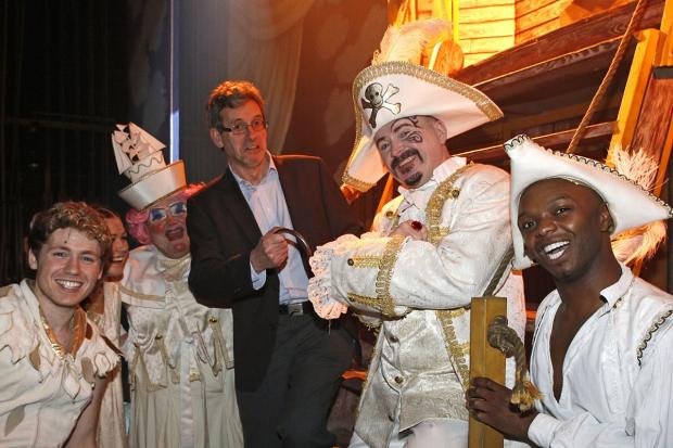 Simon Thomsett with the Peter Pan cast